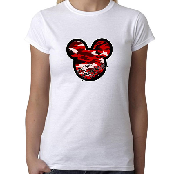 [Black/White] Your Pal Mickey Mouse Camouflage Red Pattern T-Shirt