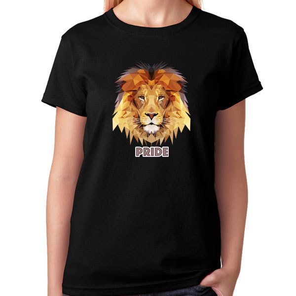[Black/White] Polygon Art - Lion Pride T-Shirt