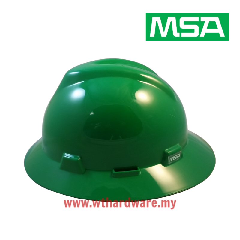 MSA V-Gard Full Brim Safety Hard Hats Green.png