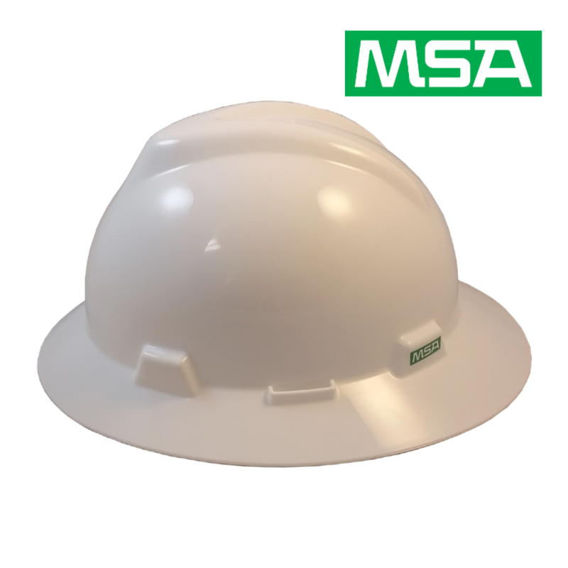 MSA V-Gard Full Brim Safety Hard Hats White 2.png
