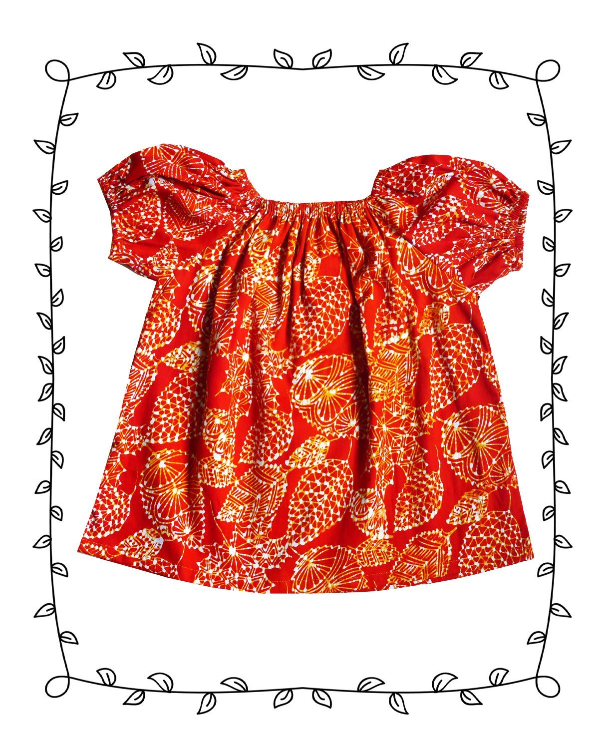 Summer top in Orange Batik