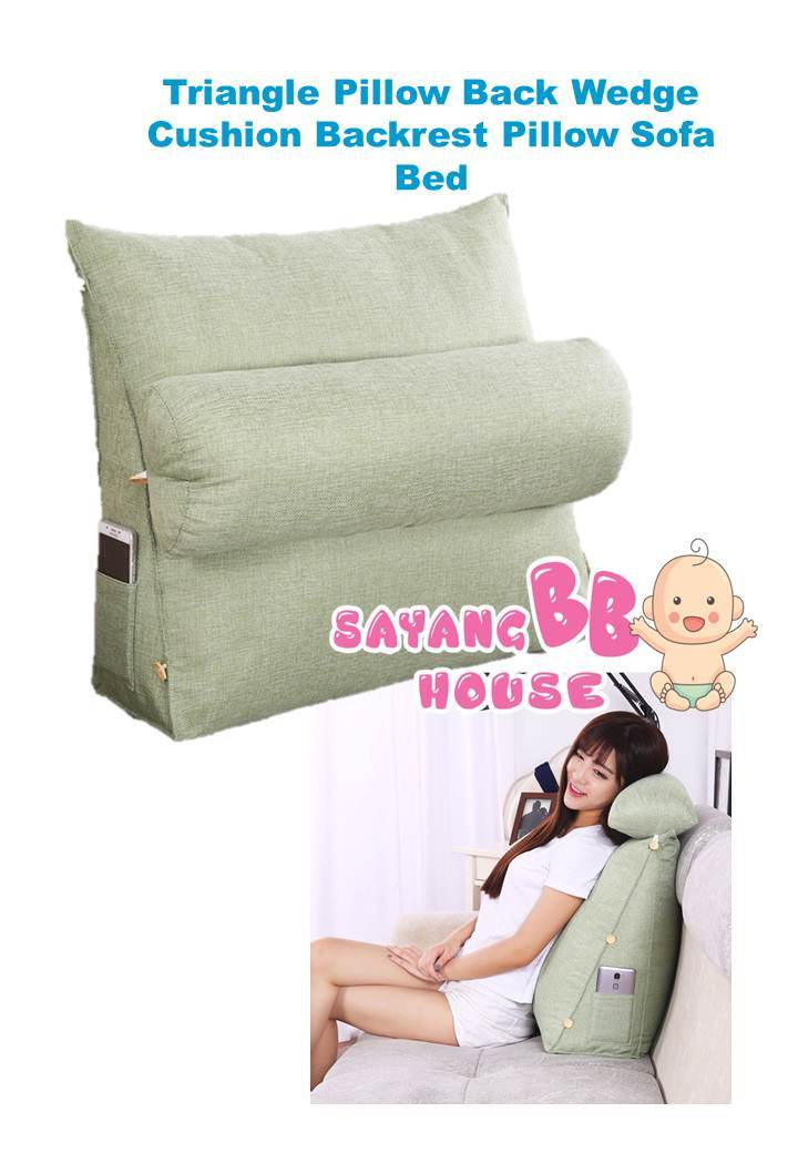 Triangle Pillow Back Wedge Cushion Backrest Pillow Sofa Bed