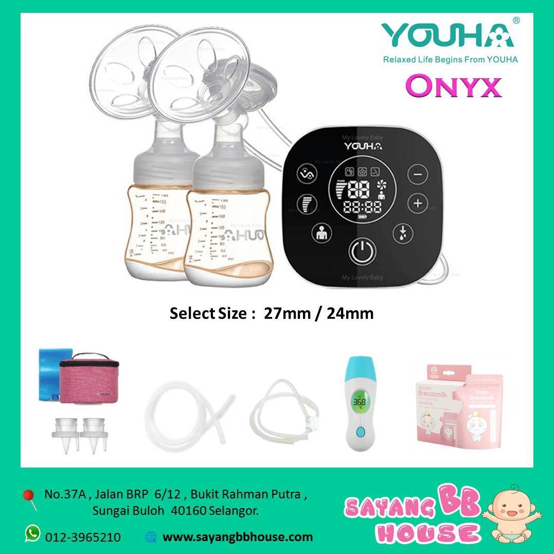 Youha Onyx Duo Black Series Double Electric Breast Pump (Special PPSU Bottle) Free thermometer + Milk Storage Milk