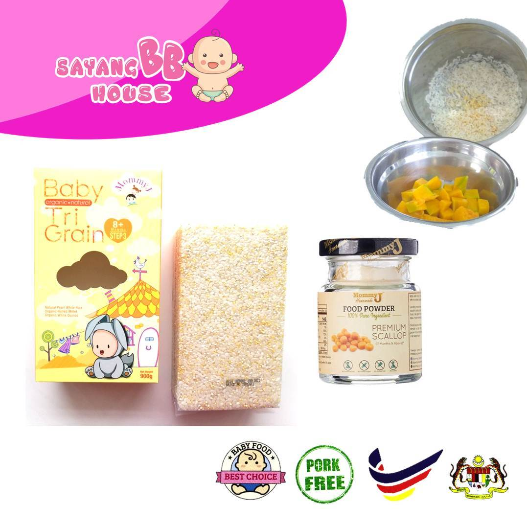 Baby Food Powder MommyJ Package Organic Nutrition Rice TRI-Grain [Suitable for 8 months or above]  + Premium Scallop Powder
