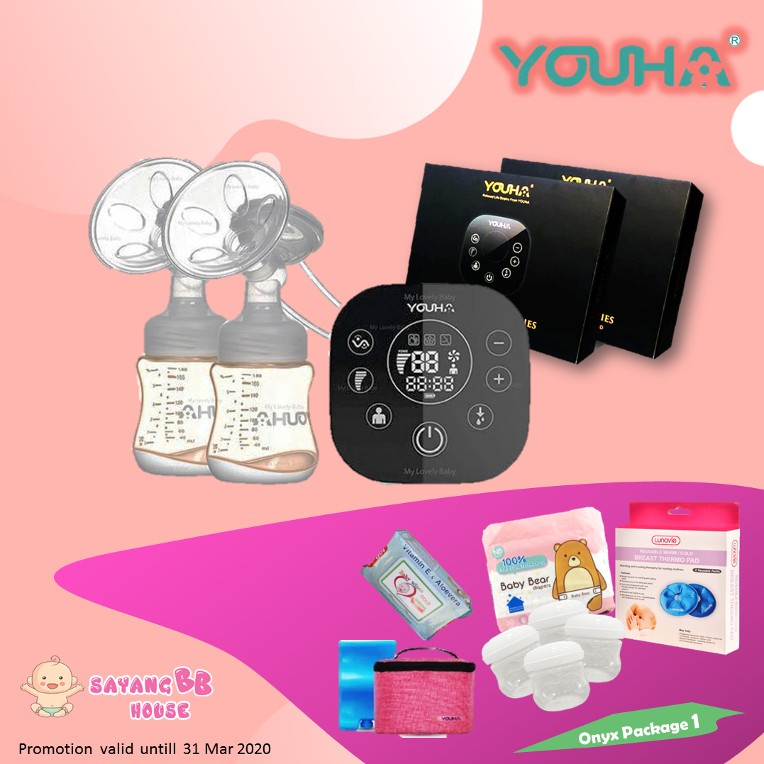 Youha Onyx Duo Black Series Rechargeable Double Breast Pump (Special PPSU Bottle) + Free Gift (2yrs warranty)