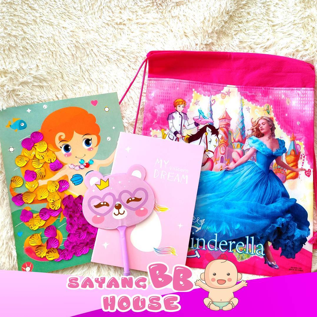 AN8027 Birthday Party Gift Drawings bag + Unicorn Book + Cartoon Pen and Art Craft set