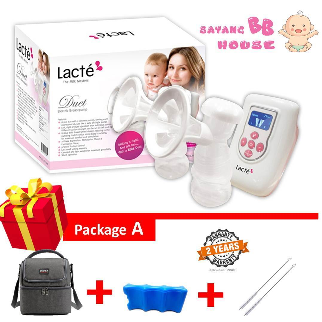 [READY STOCK] Lacte Duet Electric Double Breast pump + Free Gift 2 year warranty ( Can choose size 21mm 24mm 28mm)