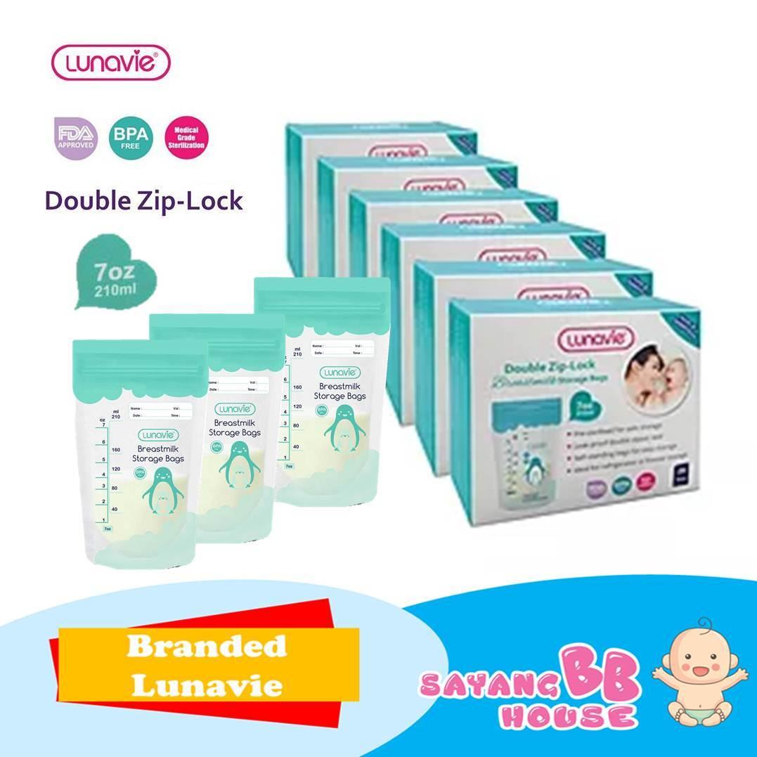 Lunavie Double Zip-Lock Breast Milk Storage Bag 7oz - 210ml  (28 PCS)