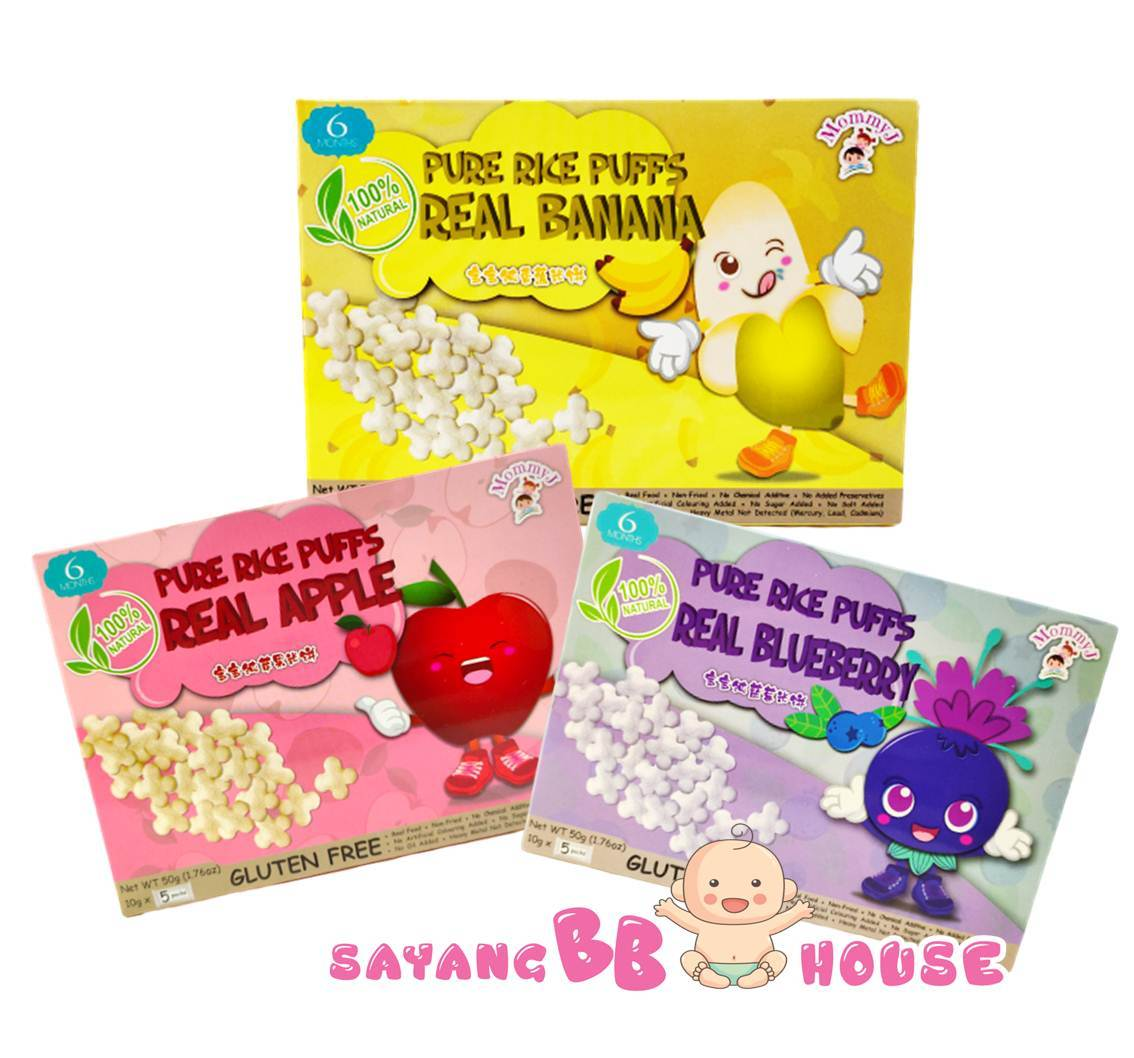 MommyJ 100% Natural Baby Food Pure Rice Puffs Real Banana / Apple / Blueberry ( 8 month baby above + )