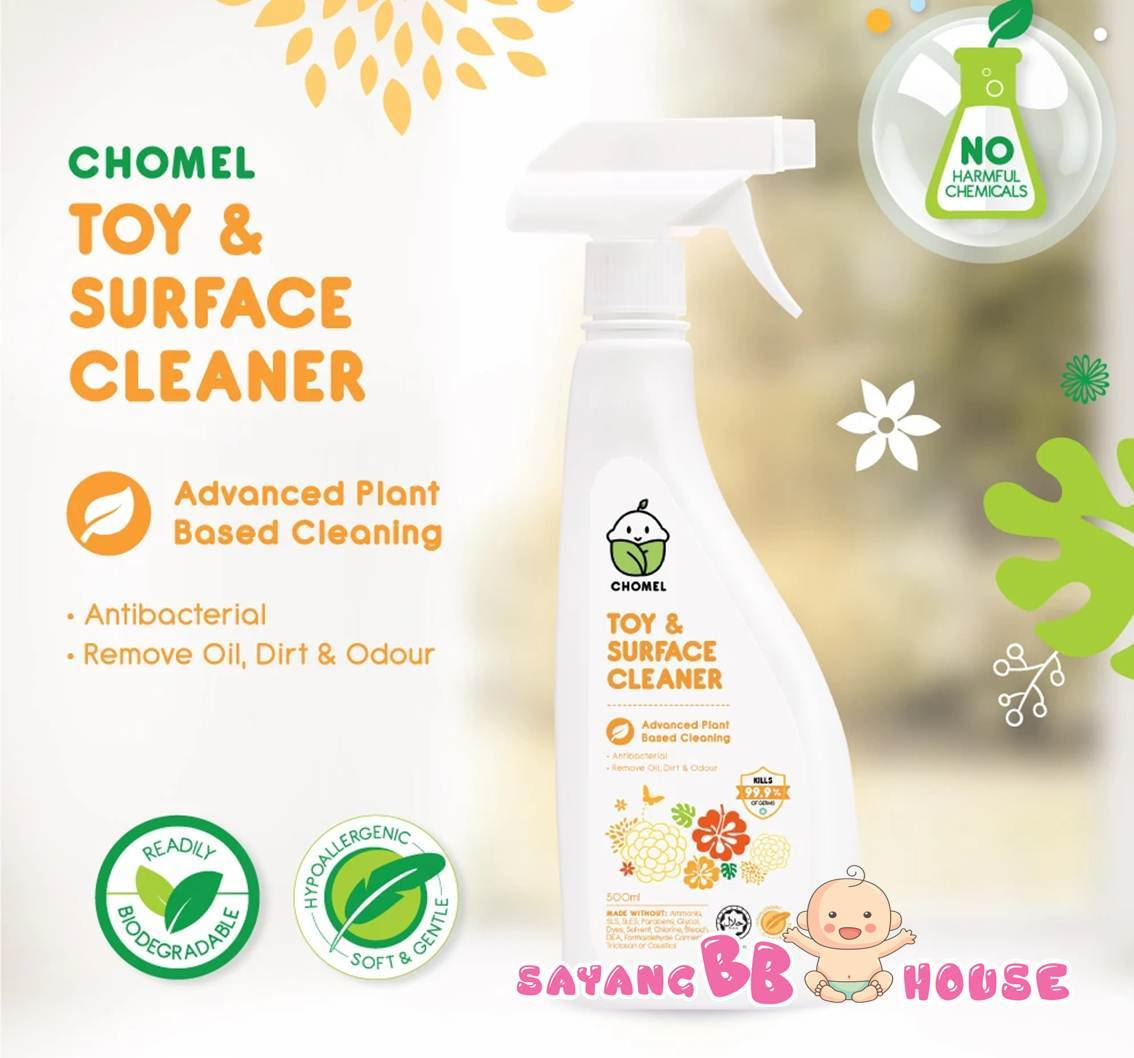 CHOMEL Natural Cleaner Baby high chairs / Baby Cot / Chinging Mat Toy & Surface Cleaner 500ML - Kills 99.9% Germs