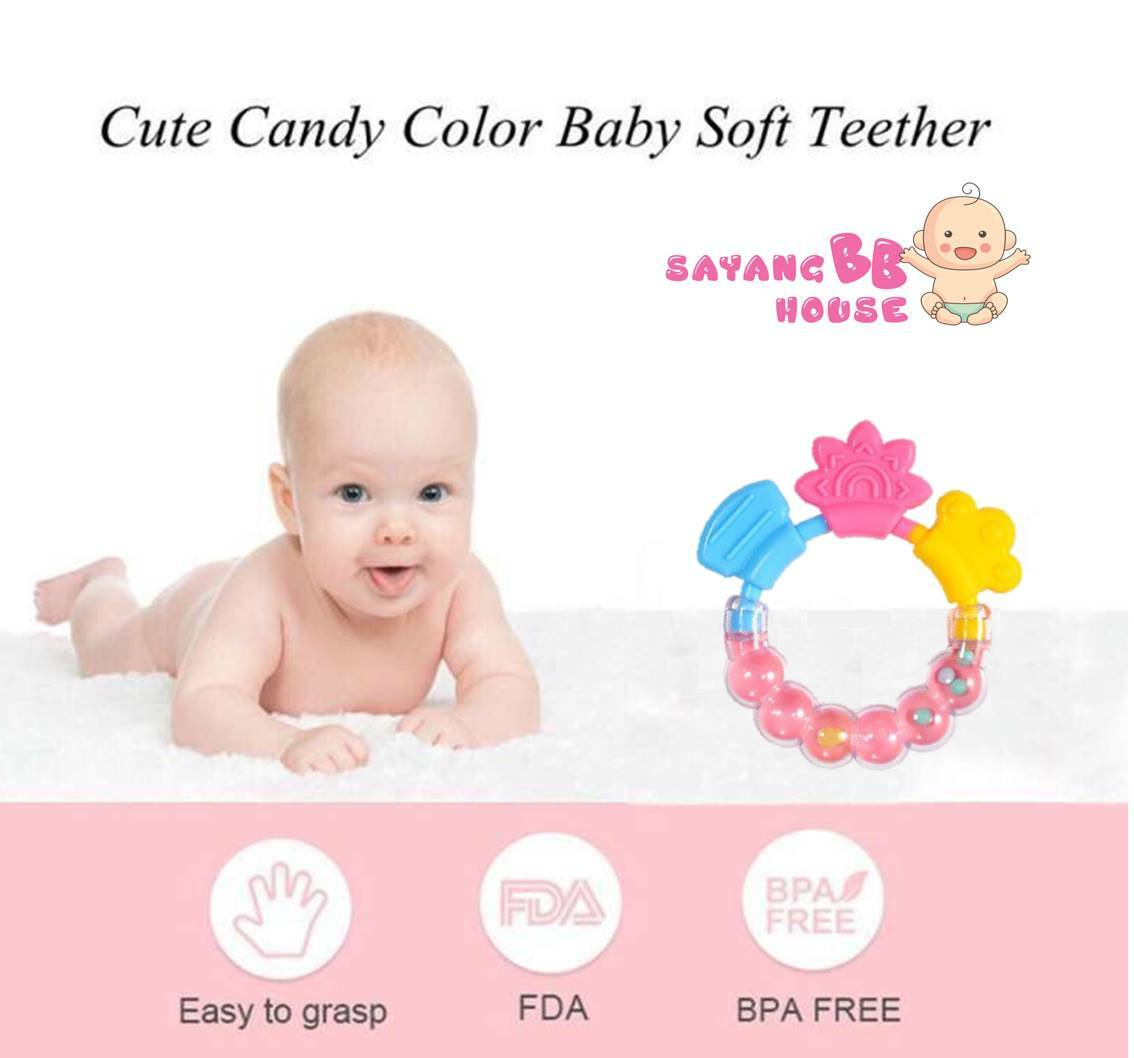 Baby Infant Grasping and Shaking Teether Toys Bell Rattle Developmental Toys Teething BPA Free Toys for 6 Month above
