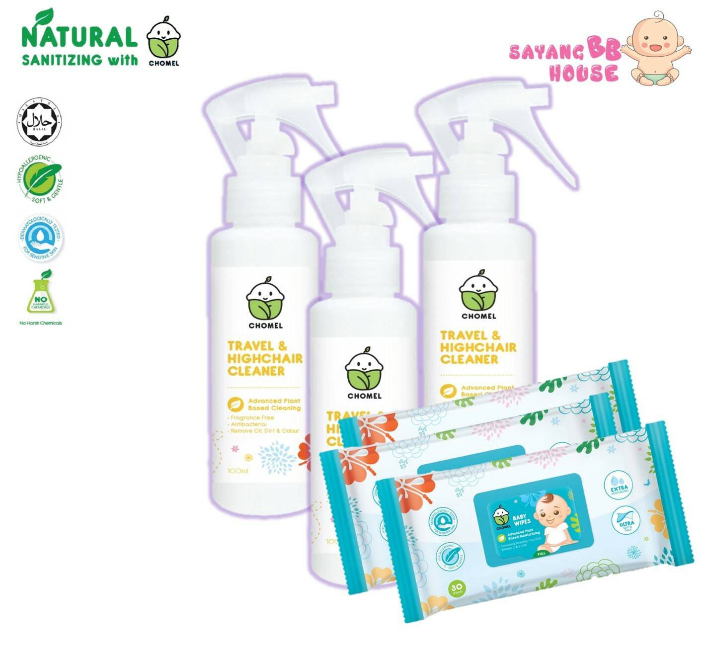 CHOMEL Baby Travel & Highchair / Diaper changing / Toys /  Cleaner  100ML  (99.9% Antibacterial) safely remove dirty
