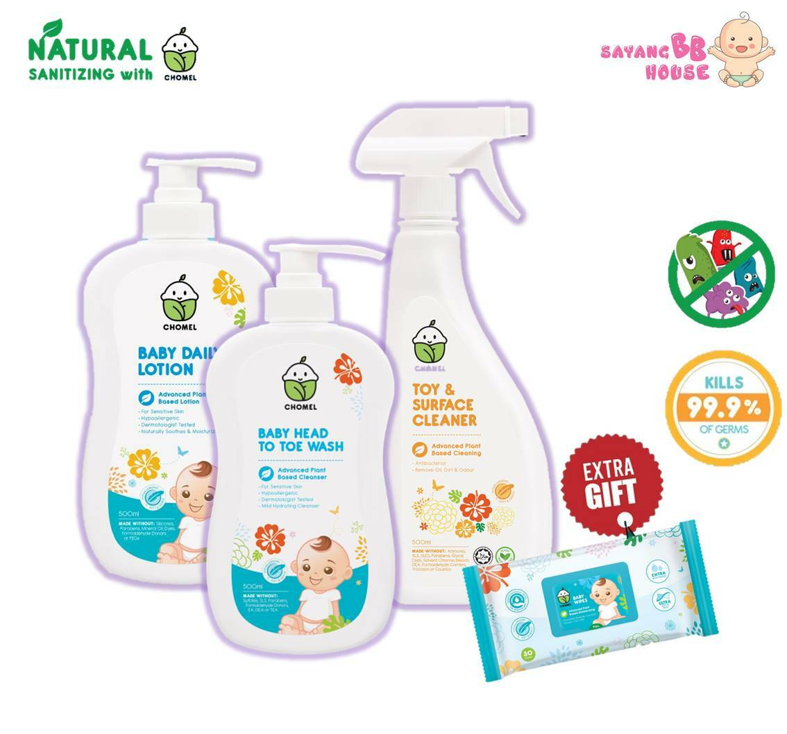 Chomel Head to tow wash + Natural Lotion + Kills 99.9% Germs 500ml Toy & Surface