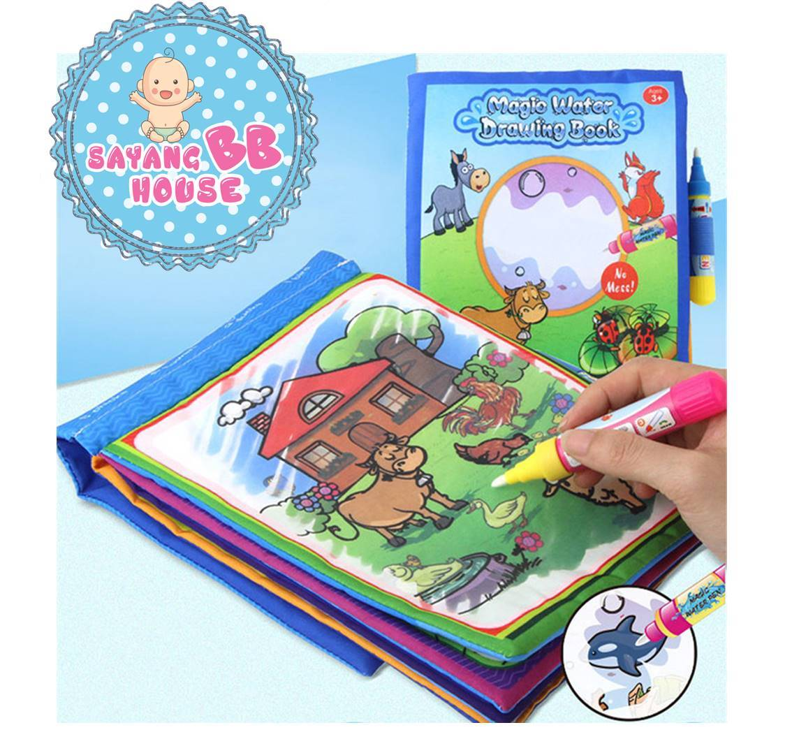 Kids Drawing Painting Cloth Book Colorful Water Drawing Baby Play Mat Magic Water Pen Book Educational Toys