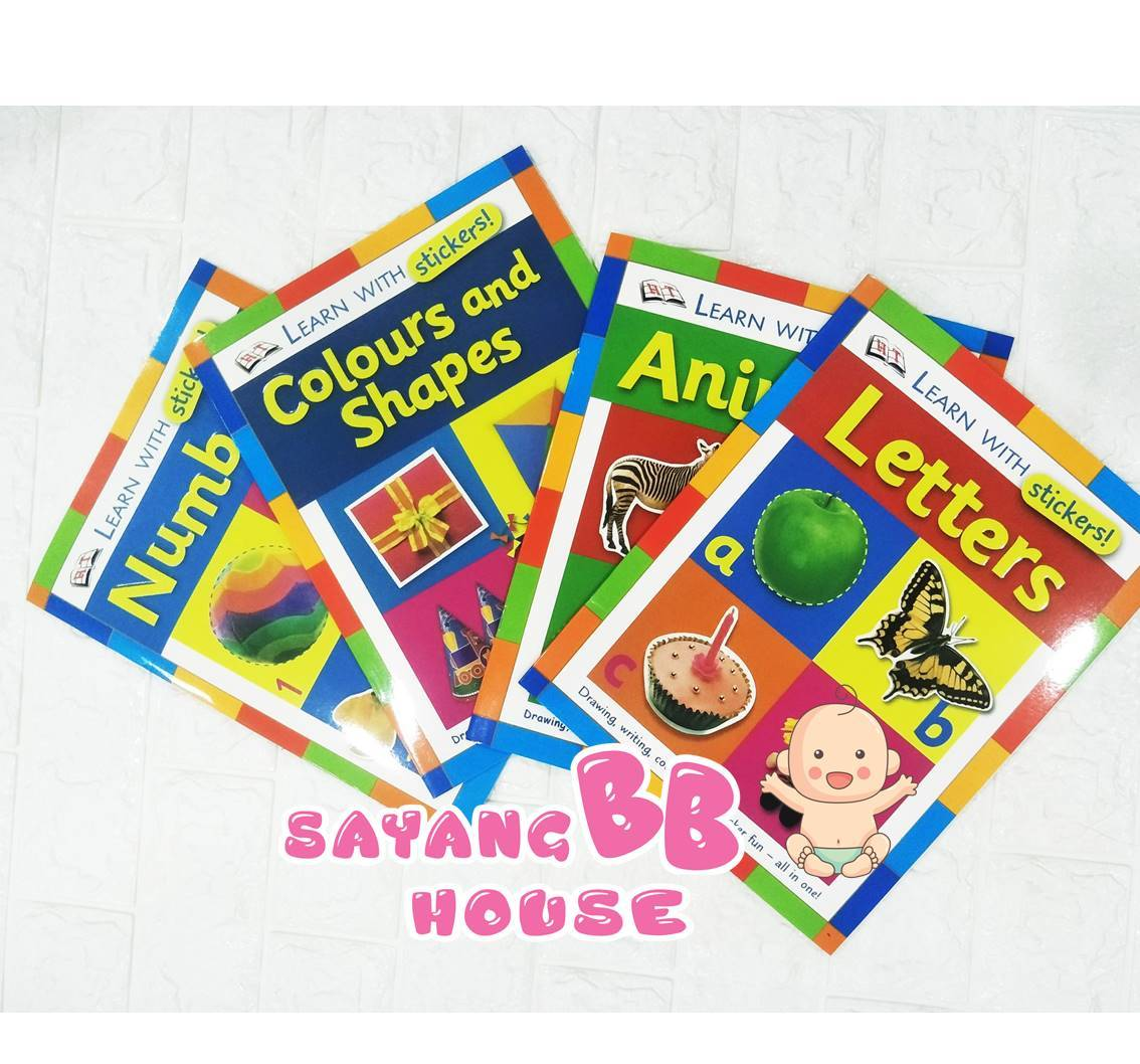 Children english book learn with stickers Numbers, Letters, Colours and shapes, Animals