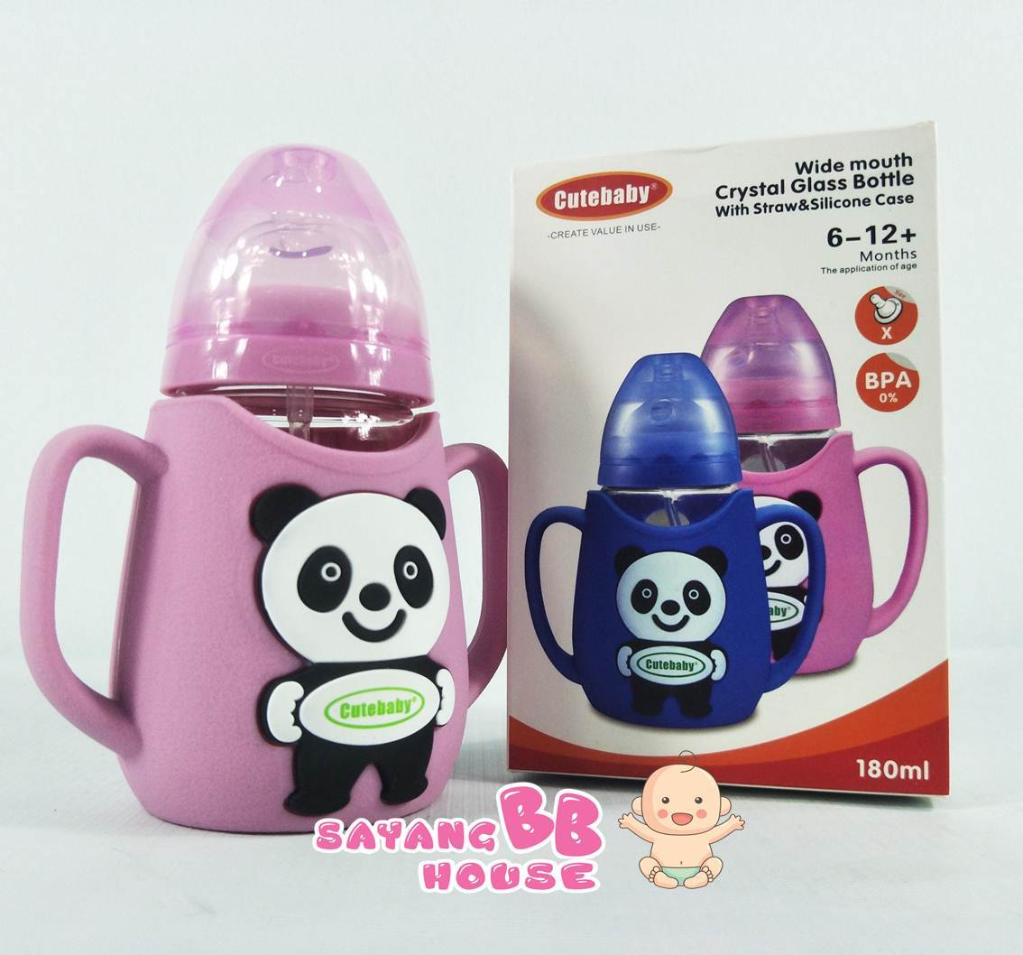 Cute Baby Bpa Fee Crystal Glass Bottle With Straw & Silicone Case 180ml