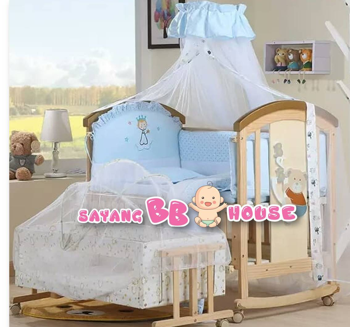 Luxury Baby Wooden Cot Extra Big Morden Style Multifunction Free Mosquito (Free Delivery and Installation of Klang Valley)