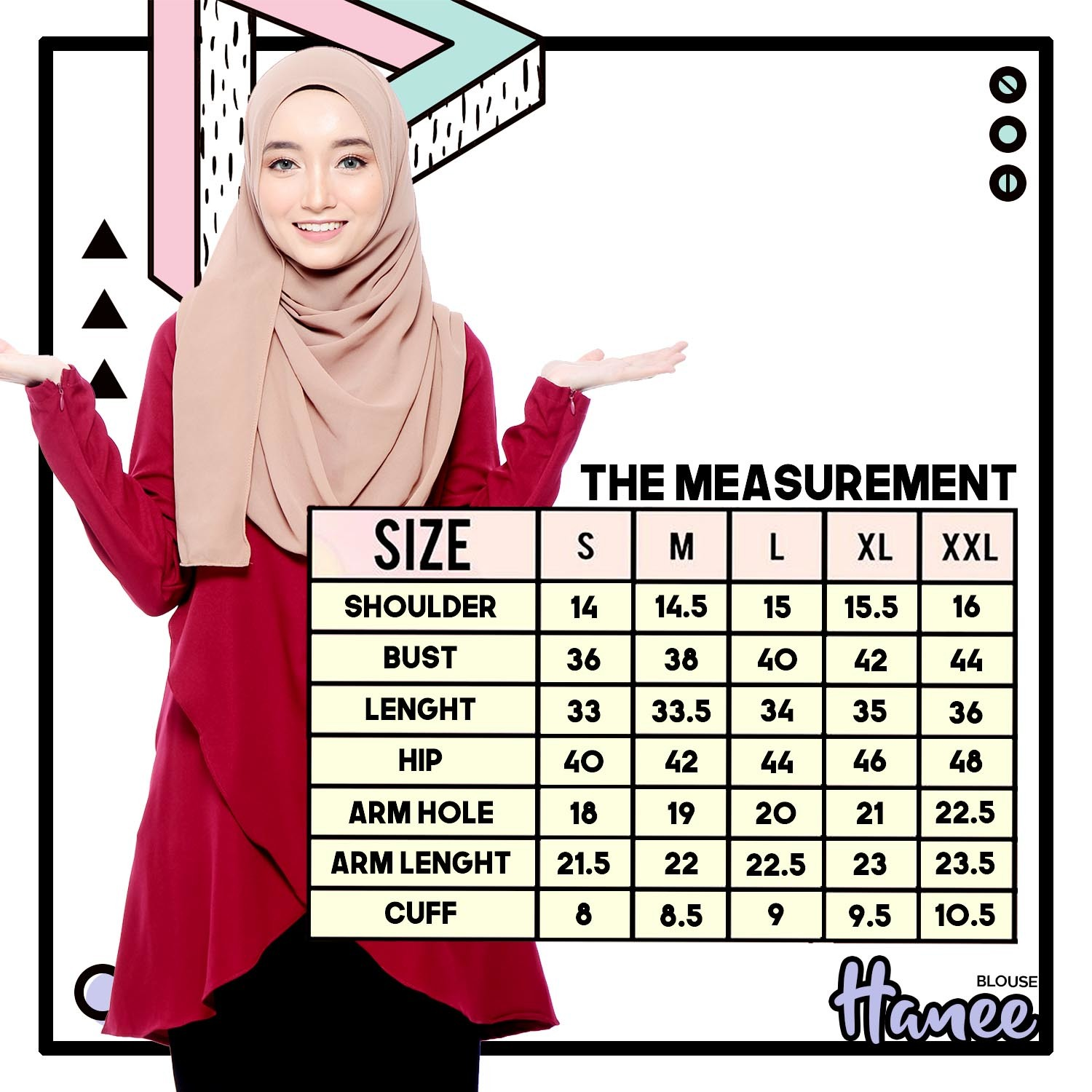 Measuremen-blouse-hanee-murah