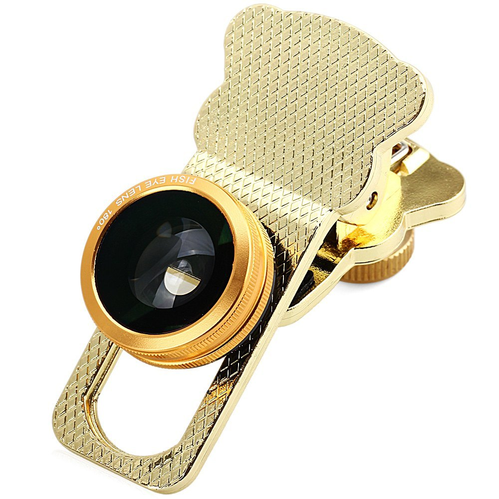 4-IN-1 UNIVERSAL CAT CLAMP PHOTO LENS FOR IPHONE IPAD SAMSUNG HTC TABLET PC ETC (GOLDEN)