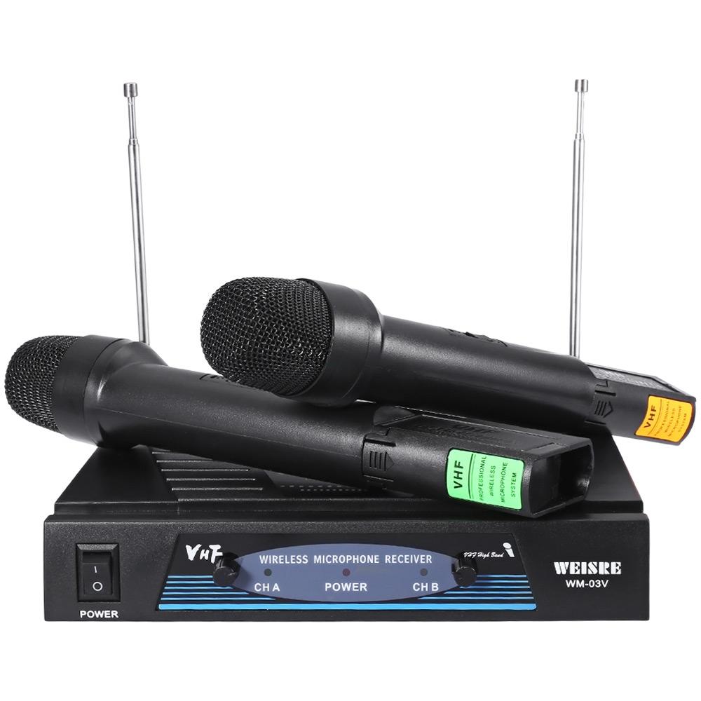 WEISRE WM - 03V PROFESSIONAL 210 - 280MHZ KARAOKE WIRELESS HANDHELD VHF TRANSMITTER MICROPHONE SET