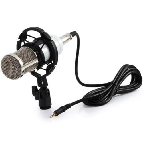 BM - 800 CONDENSER STUDIO SOUND RECORDING MICROPHONE WITH SHOCK MOUNT SOUND CARD (WHITE)