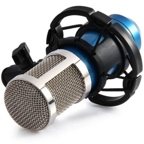 BM - 800 CONDENSER STUDIO SOUND RECORDING MICROPHONE WITH SHOCK MOUNT SOUND CARD (BLUE)