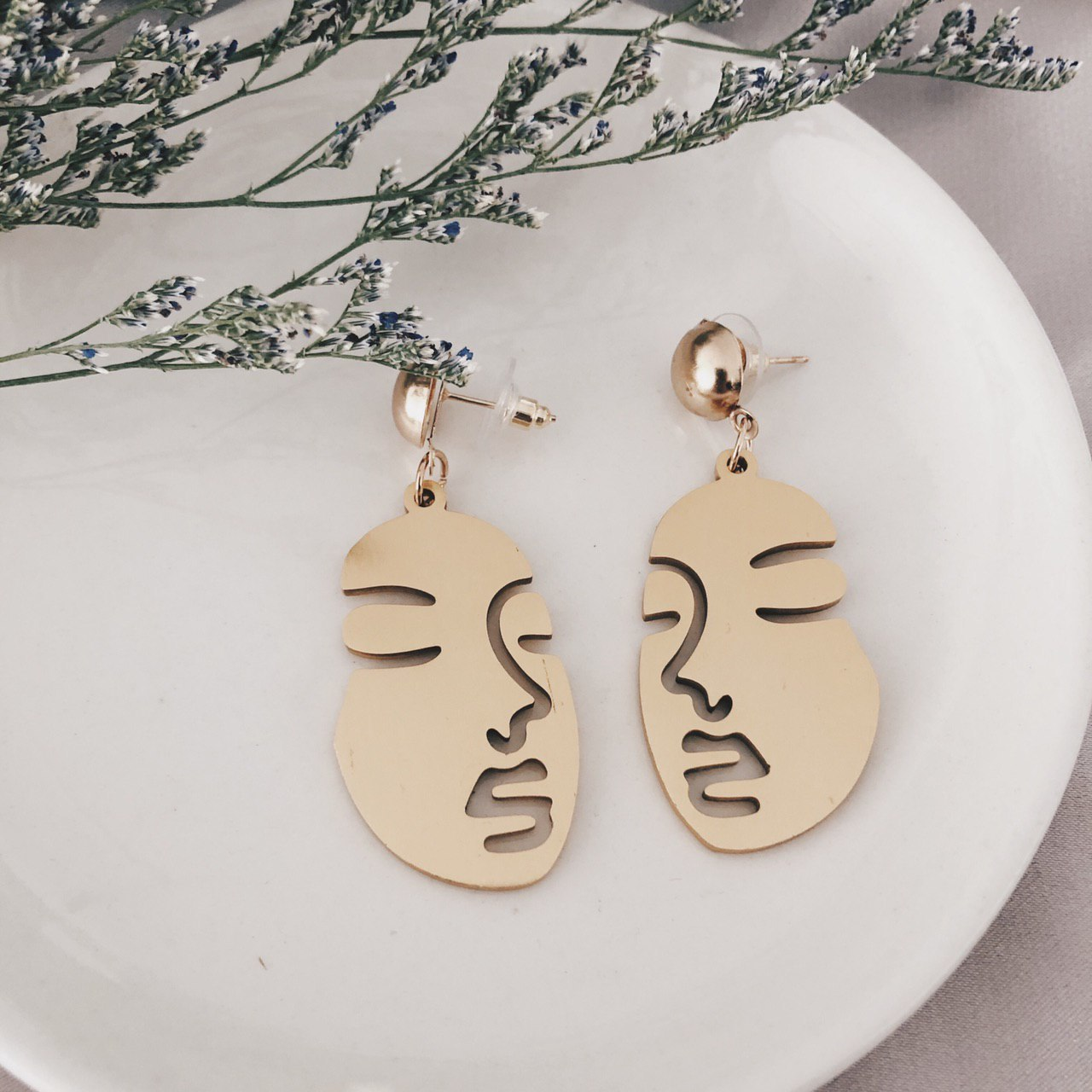 Gold Face Earrings The Closet101