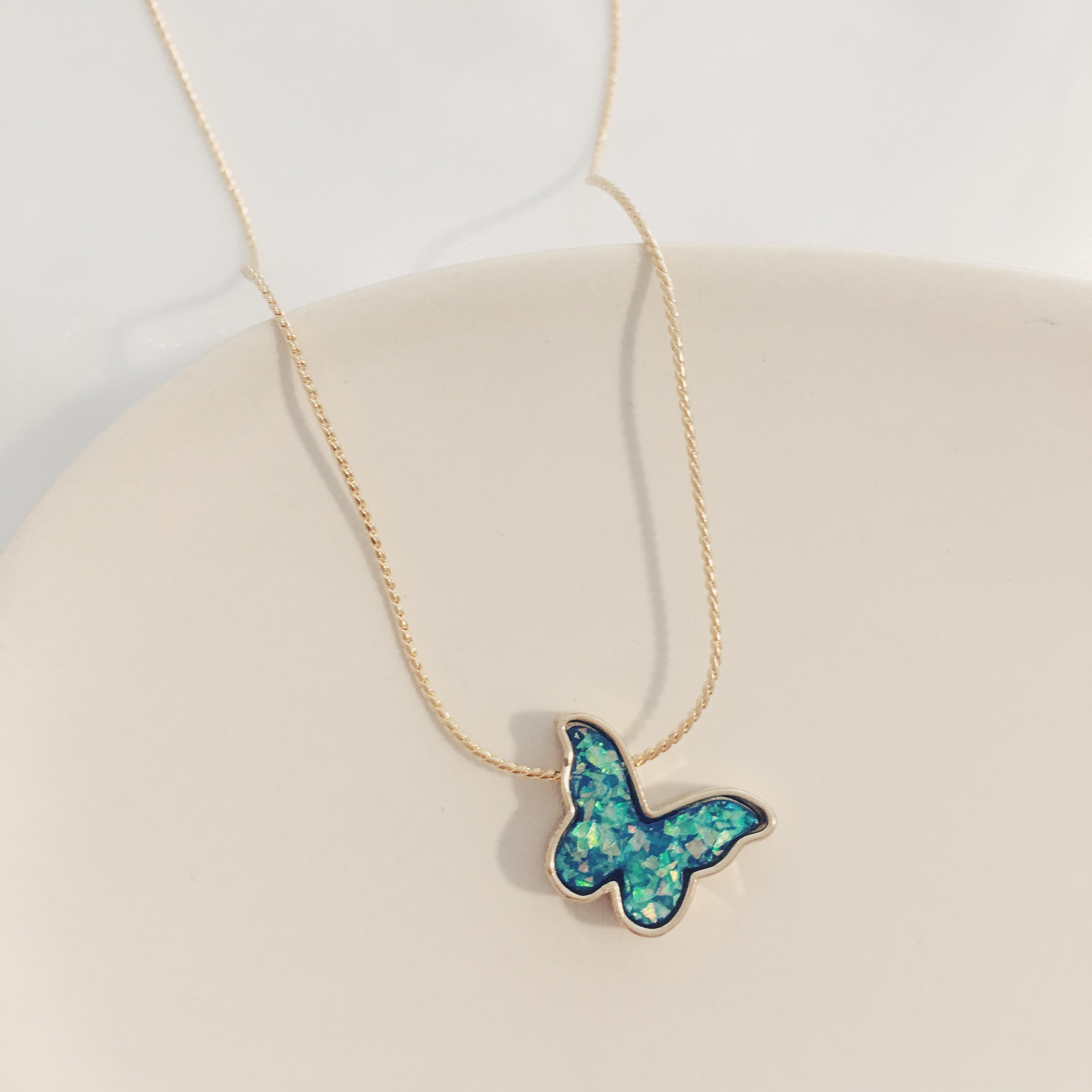 Sky Blue Butterfly Necklace TheCloset101