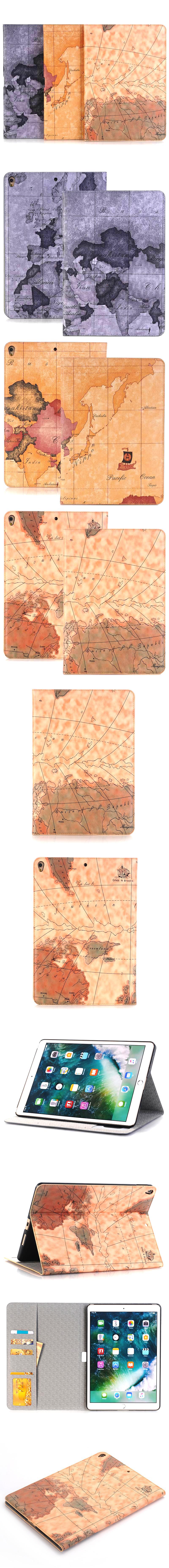 375-455-IPad-經典地圖紋翻蓋皮套支架平板套