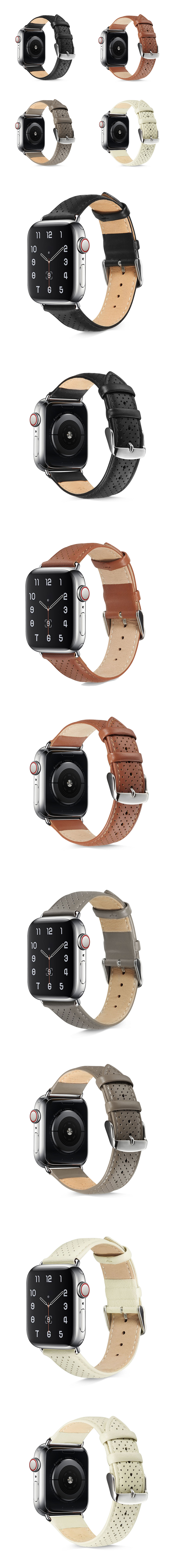 頭層牛皮真皮錶帶點點透氣造型皮革錶帶