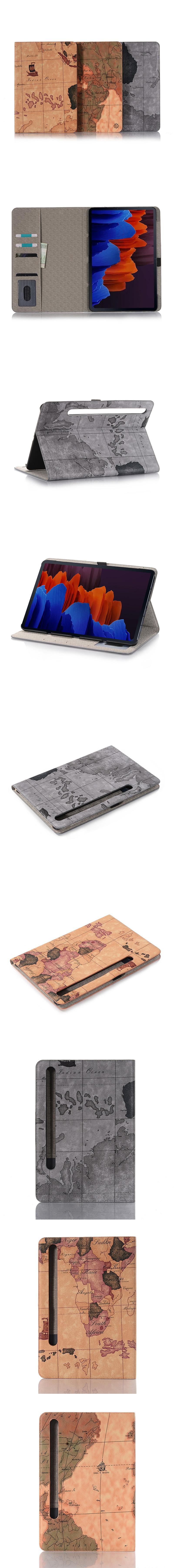 375-Samsung-經典地圖紋翻蓋皮套支架平板套(Tab S7)