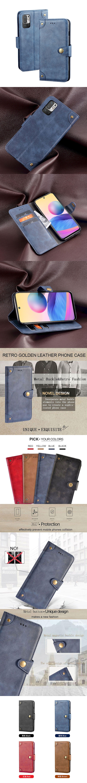 紅米 Note10 5G 皮革保護套(BUCKLE) - 復古紋鈕扣式磁扣帶翻蓋皮套