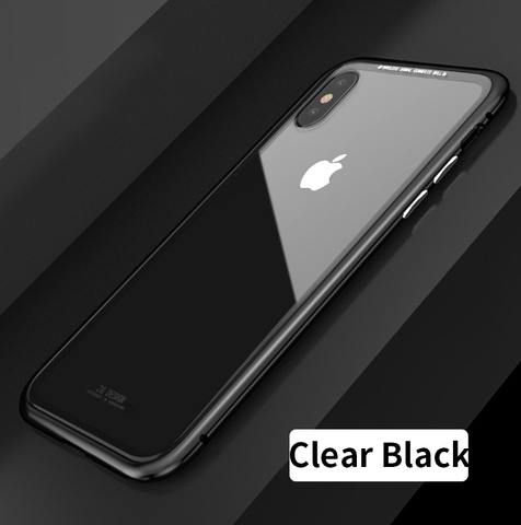 Magnetic-Adsorption-Flip-Case-for-iPhone-X-8-Plus-7-Plus-Tempered-Glass-Back-Cover-Luxury_Clear Black.jpg