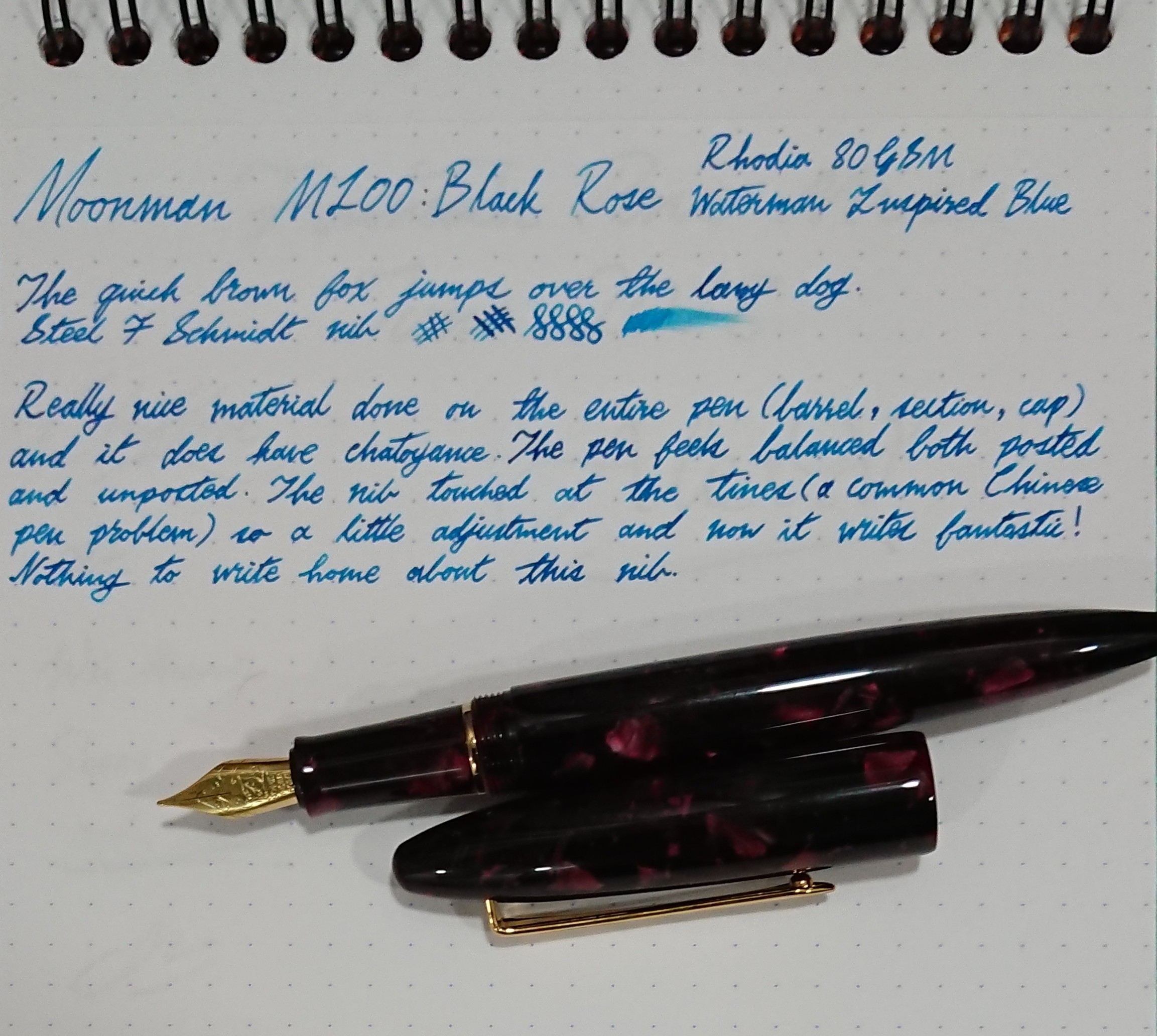 Moonman M100 writing sample
