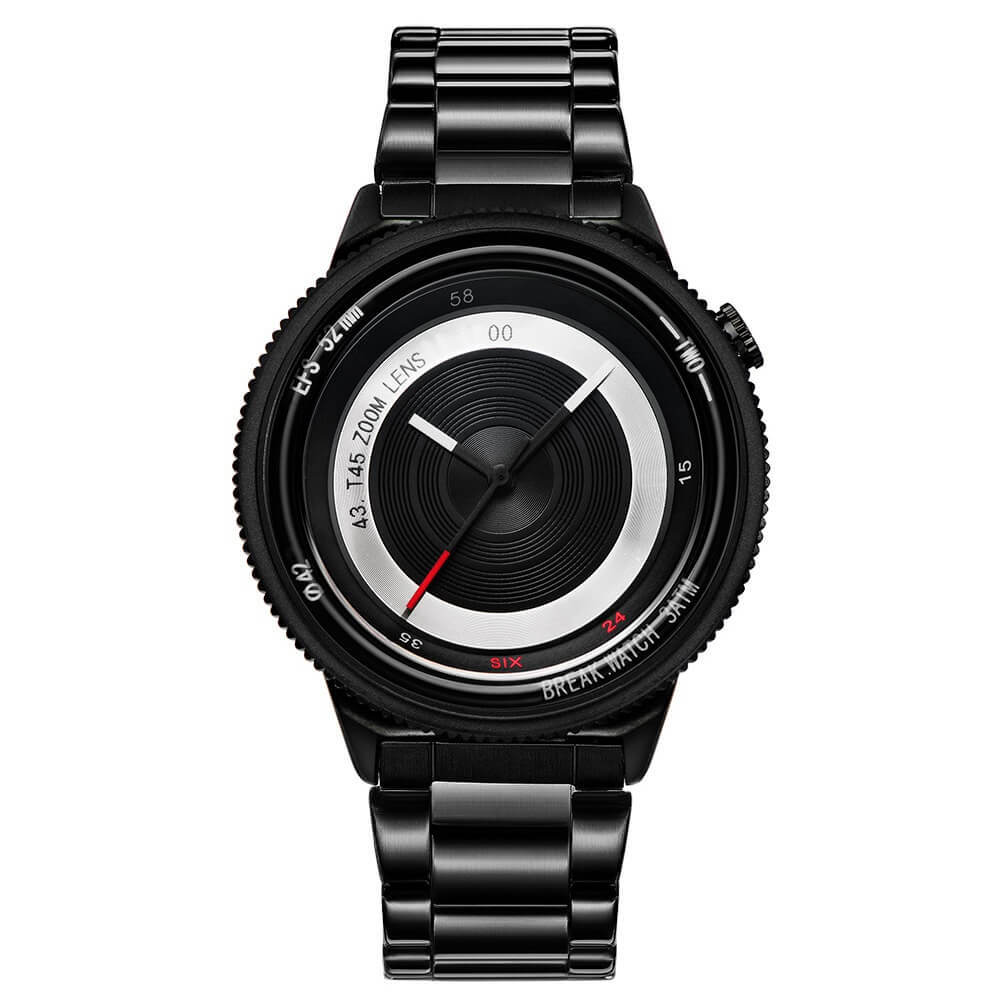 Lens Black Break Watches Black Steel Straps.jpg
