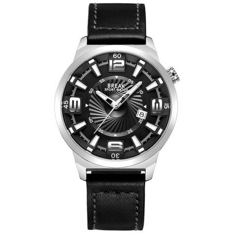 Shutter Break Watches Sliver Black Leather Straps.jpg
