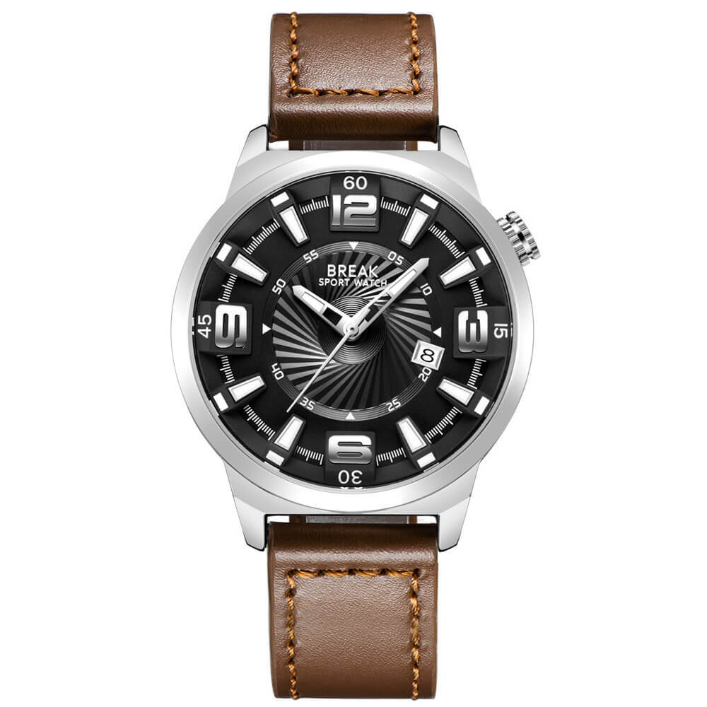 Shutter Break Watches Sliver Brown Leather Straps.jpg