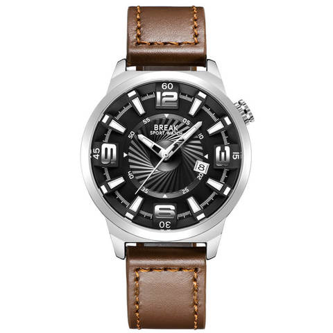 Shutter Break Watches Sliver Brown Leather Straps.jpg
