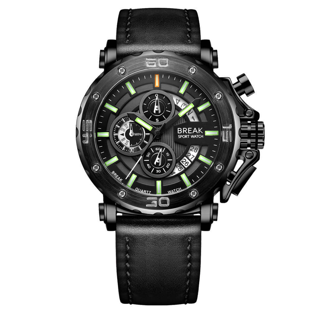 Ranger Break Watches Black Leather green pointer.jpg