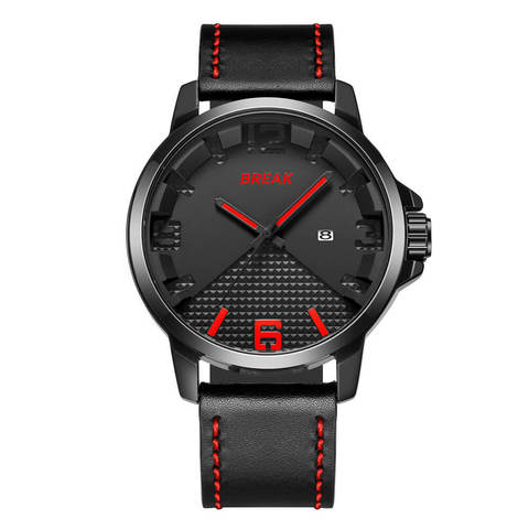 Loki Black Dial Red Pointer black leather straps.jpg