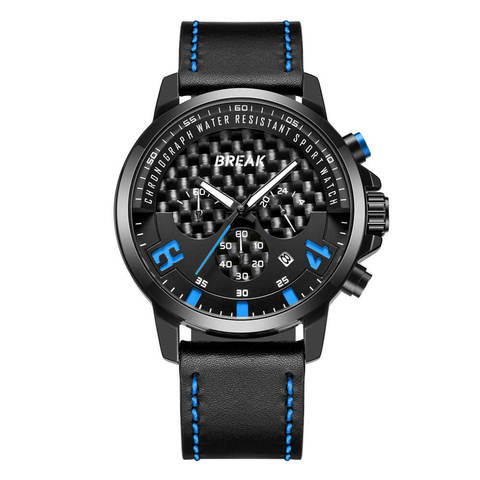 Loki Chrono Break Watches Black Dial Blue Pointer black leather (1).jpg