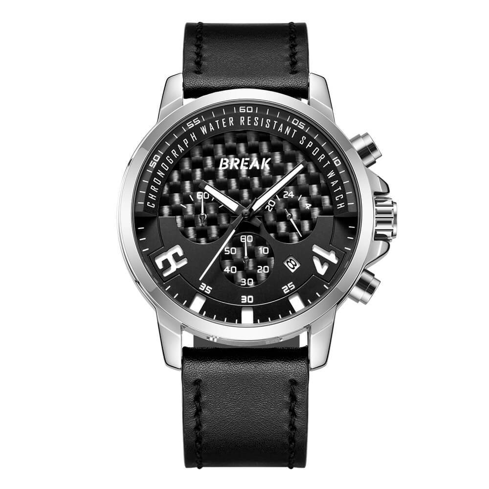 Loki Chrono Break Watches Black Dial Sliver Case Black Leather Straps (1).jpg
