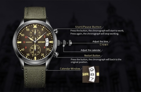 Army Green Chrono Megir Watches (1).jpg