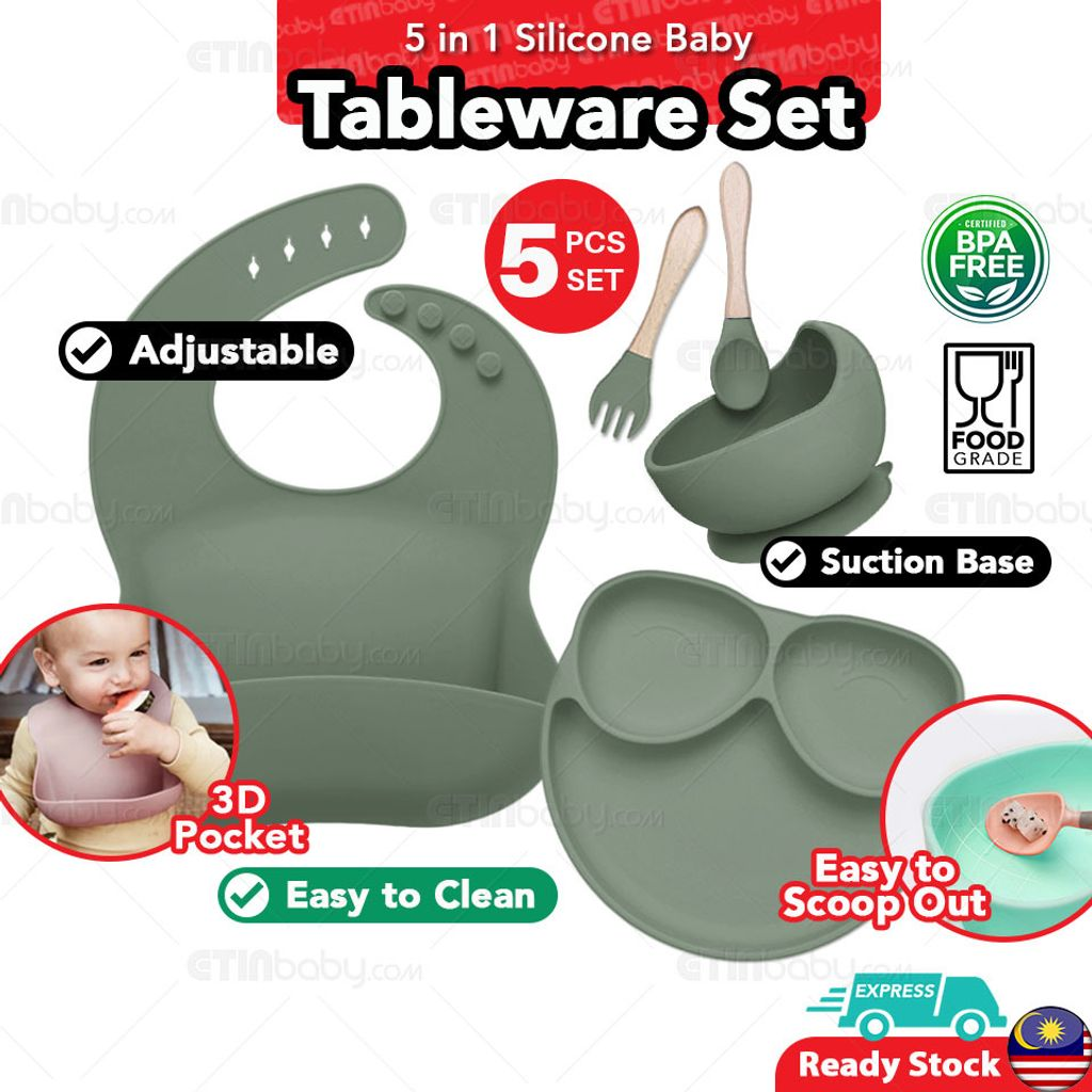 SKU EB 5 in 1 Ins Silicone Baby Tableware Set-3 olive green copy.jpg