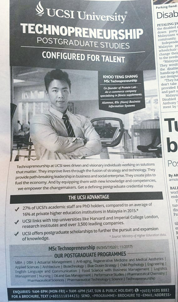 The Star showing Protein Lab Malaysia