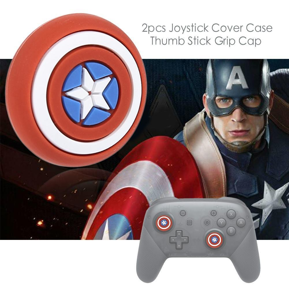 (Captain America) Silicone Analog Controller Grips Cap Thumb Stick Joystick Cover PS4 PS3 Xbox One 360 Nintendo Switch