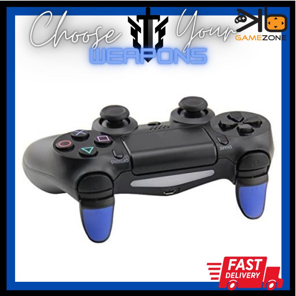 (Grade A) Sony Dualshock 4 PS4 Controller L2 R2 Trigger Extended Matte Button Trigger Extenders (blue)