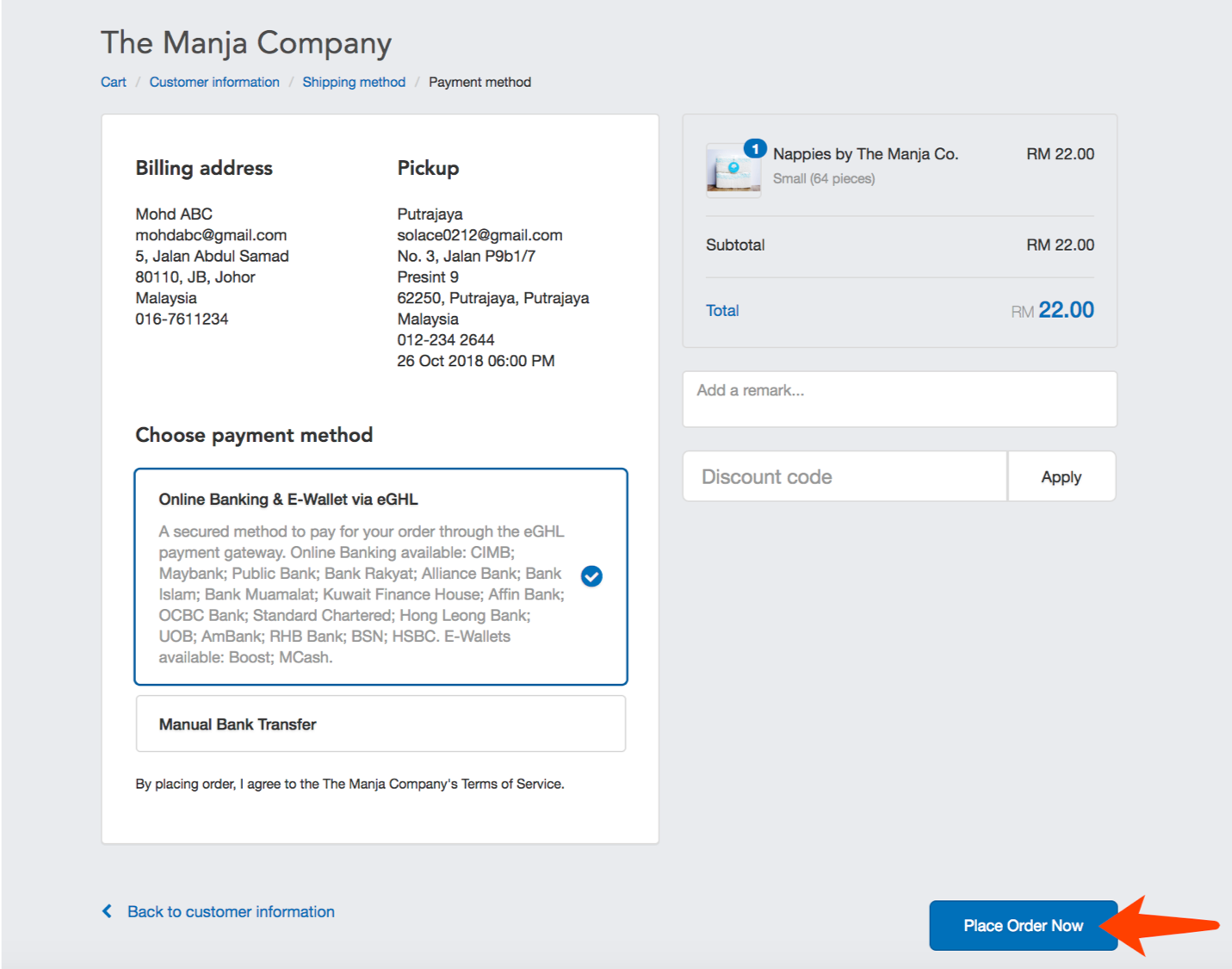 "The Manja Company website's pick up order guide. Step 5 in the ordering process. Screenshot shows how to select the payment method (either through ""Online Banking & E-Wallet via eGHL"" or by ""Manual Bank Transfer""). ""Nappies by The Manja Company"" is the hot new baby diapers brand in Malaysia."