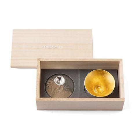 金箔純錫富士山木盒組.jpg