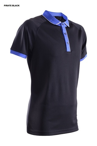 Outréfit Microfiber Premium Reflective Placket Polo Design Unisex RGT-MOP 4610 Pirate Black